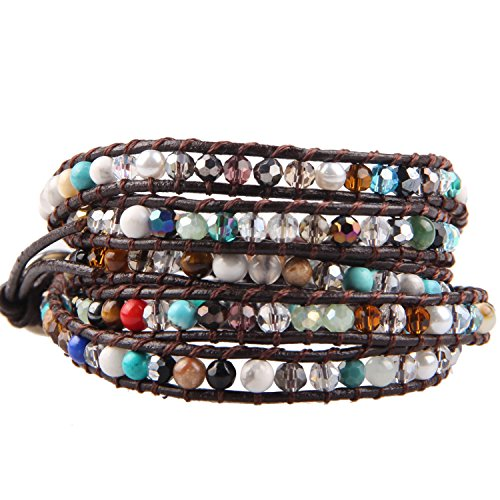 - KELITCH Crystal Beaded 5 Wrap Bracelets on Natural Leather for Women Fashion Jewelry