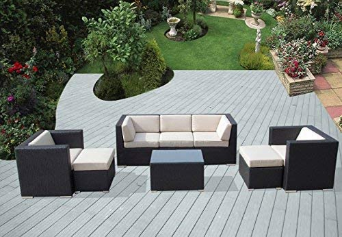 Ohana 8-Piece Outdoor Patio Furniture Sectional Conversation Set, Black Wicker with Beige Cushions – No Assembly with Free Patio Cover