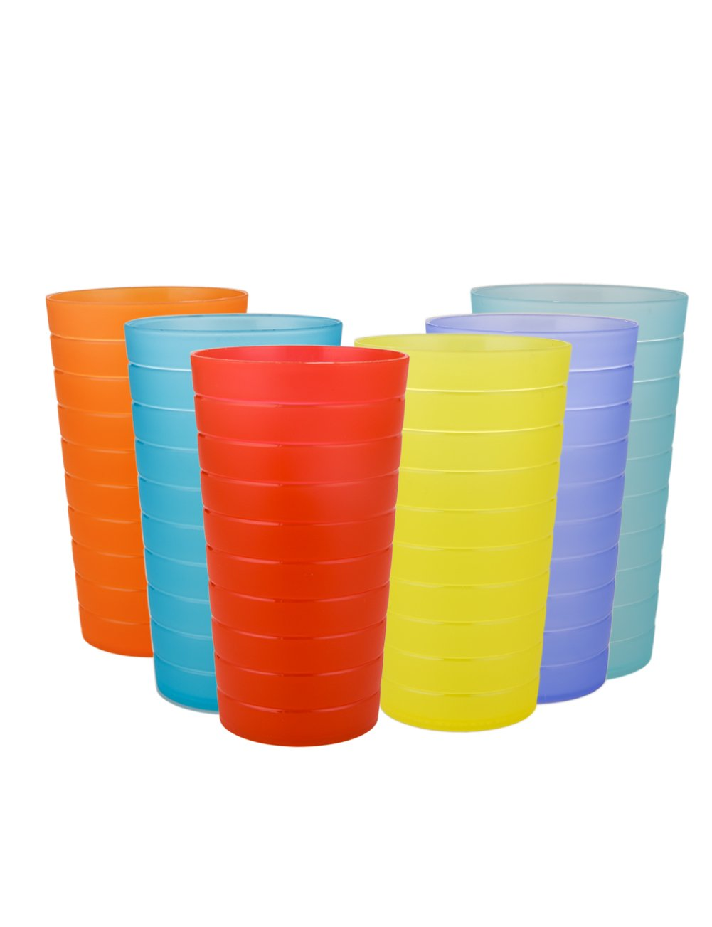 AYT Plastic Tumblers Drinking Glasses Set of 12 | Break Resistant 22 oz Plastic Cups | 6 Assorted Colors Restaurant Quality | BPA Free