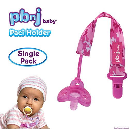 PBnJ baby Pacifier Clip Holder Strap Leash Tether for Boys and Girls with Safe Plastic Clip (Pink Camo - Single) - Baby Girl Pink Camo Stuff