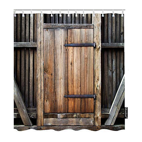 Moslion Wood Bathroom Curtains Vintage Wooden Plank Entrance Door Gate Farmhouse Barn Wall Board Shower Curtains Home Waterproof Extra Long Polyester Fabric Shower Curtain with Hooks 72x72 Inch Brown
