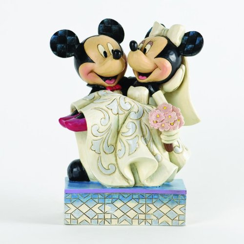 Disney Traditions by Jim Shore Mickey and Minnie Mouse Cake Topper Stone Resin Figurine, 6.5