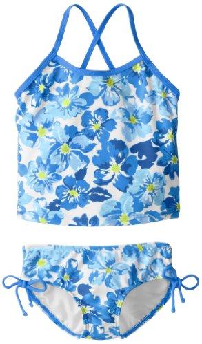 Kanu Surf Little Girls' Melanie Beach Sport 2-Piece Banded Tankini Swimsuit, Lei Floral Blue, 4