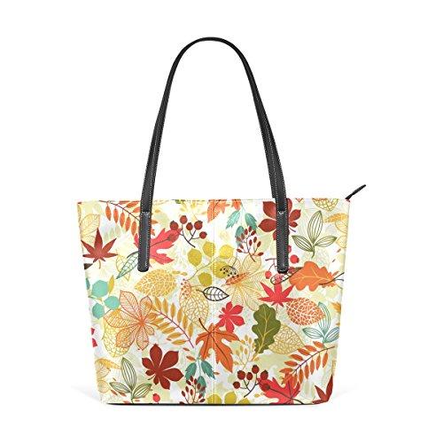 COOSUN Estilizada hojas de otoño Patrón PU hombro del bolso y bolsos de la bolsa de asas para las mujeres Medio multicolor