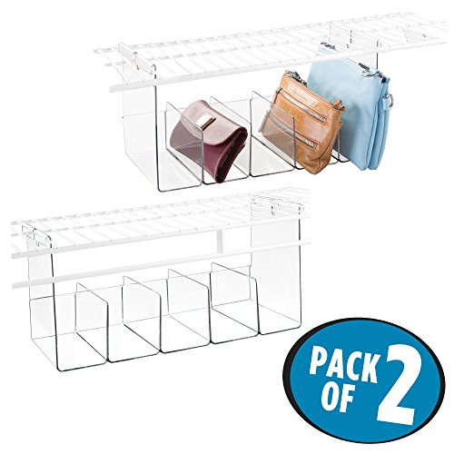 mDesign 5 Compartment Hanging Closet Storage Organizer Tray – Divided Sections for Holding Sunglasses, Wallets, Clutch Purses, Accessories, Pack of 2, Durable Shatter-Resistant Plastic, Clear Purse Sunglasses