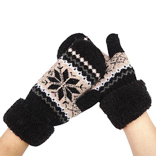 Guantes calientes para Mujeres,Ouneed ® Caliente invierno nieve de las mujeres de moda guantes mitones Negro