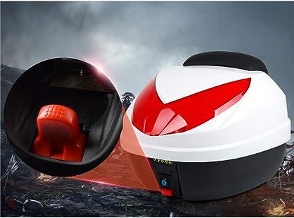 Ymhbx 30l Motorrad Kofferraum Helmkoffer Motorradkoffer Scooter Topcase Universal Mit Weicher Rückenlehne Schnelle Demontage Silber Rot Küche Haushalt