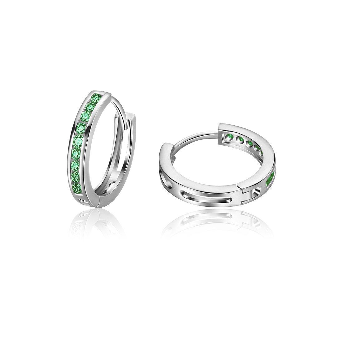 Carleen 925 Sterling Silver Channel Set Round Cut 9-stone Green Cubic Zirconia CZ Hinged Hoop Earrings for Women Girls Diameter 1.8cm