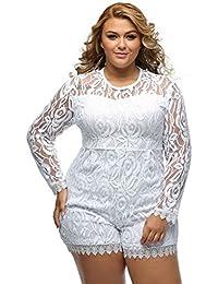 Roswear Women's Plus Size Round Neck Long Sleeve Lace...