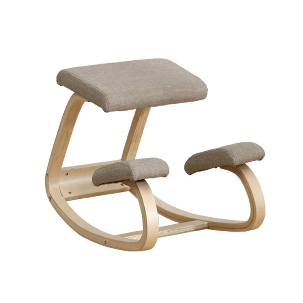 QRFDIAN Ergonomischer Ruhesessel | Korrekturstuhl für Kinder | Lernen, Sitzstühle zu korrigieren | Computerstuhl Büro Massivholz einfach nordischer orthopädischer Schaukelstuhl | Knieschoner
