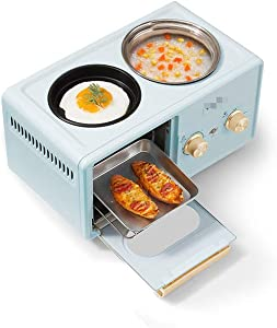 304 stainless steel breakfast machine, 220V 1350W sandwich maker, toaster, toaster, roasting and stewing multi-function breakfast maker blue,Bread machine