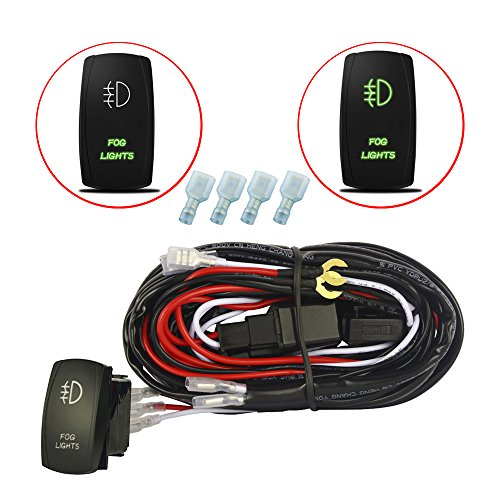 (MICTUNING LED Light Bar Wiring Harness 40Amp Relay Laser Green On-Off Rocker Switch (Fog Lights))