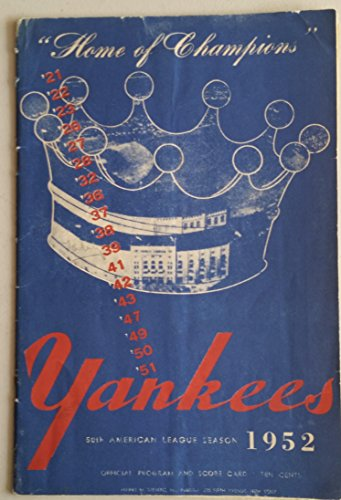 1952 Yankees Program vs Indians (24 pg) Scored Aug 22 Reynolds vs Lemon (Cle 6-4, HR Collins, Easter) Very Good [Scorecard detached but present; Wear on cover and binding, neatly scored]