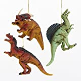 Kurt Adler 1 Set 3 Assorted Plastic 4 Inch Dinosaur Ornaments