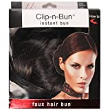 Mia Clip-n-Bun-Instant Bun That Clips On! Made of Synthetic/Faux Wig Hair-Dark Brown Color-Measures 5'' Diameter x 2.5'' Deep (1 piece per package)