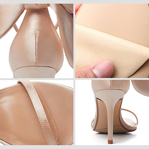 casual Champagne Color 8 high Champagne 36 5cm bows shoes sandals shoes sexy heels with Size student fine Women CCSRq4w