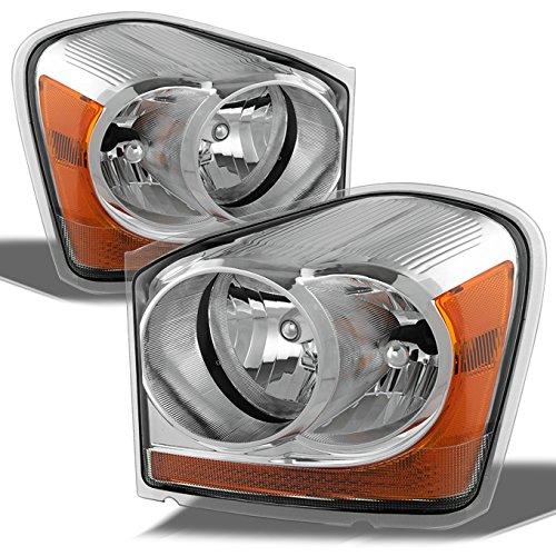 Dodge Durango OE Replacement Chrome Bezel Headlights Driver/Passenger Head Lamps Pair ()