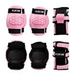 KUKOME Child Sports Protective Gear Safety Pad Safeguard Knee Elbow Wrist Support Pad Set Equipment for Children Roller Bicycle BMX Bike Skateboard Extreme Sports Bogu Protector Guard Pads (Pink, S)