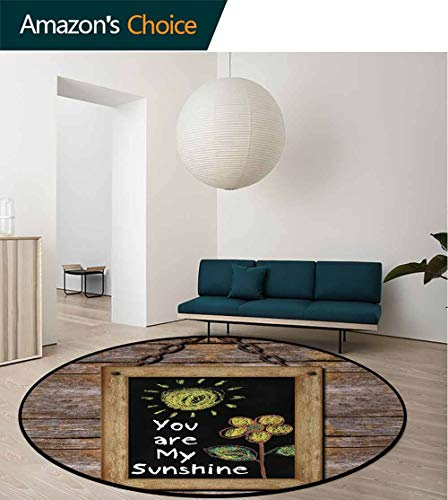 DESPKON-HOME Quote Round Area Rug,Love Valentines Phrase with Flower and Hand Drawn Sun Figure On Framed Wooden Wall Design Non-Slip Fabric Round Rugs for Bedroom Round-59 Inch,Multicolor ()