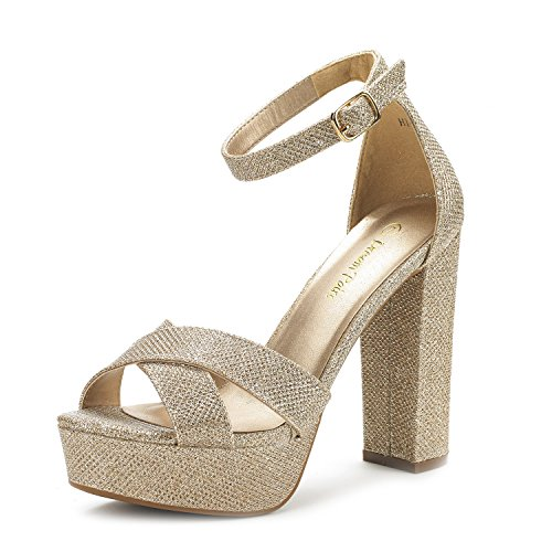 Hi-Go Gold Glitter High Heel Platform Pump Sandals - 7 M US (High Heel 1.2 Inch Platform)