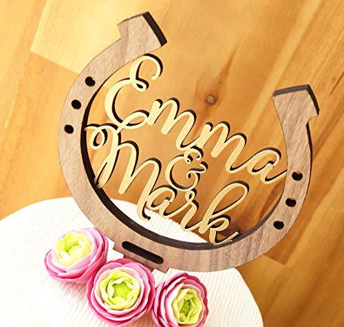 Horseshoe cake topper, personalized wedding cake topper, horseshow wedding cake decoration, rustic wooden cake topper, country wedding decor