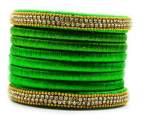 Silk Thread Bangles  Set, Trendy & Popular Rhinestone Silk Bangles in Green - 2.8