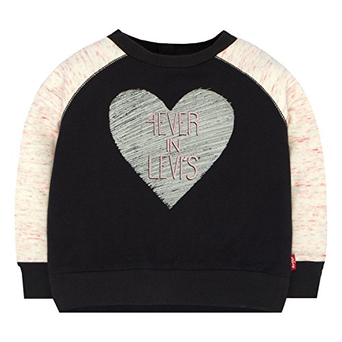 Levi's Baby Girls' Long Sleeve Sweatshirt, Jet Black, 12M