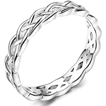 FUNRUN JEWELRY 4mm Sterling Silver Celtic Knots Eternity Wedding Bands Rings for Women