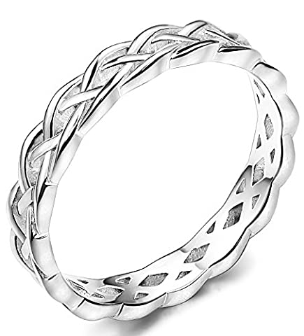 FUNRUN JEWELRY 4mm Sterling Silver Celtic Knots Eternity Wedding Bands Rings for Women Size 9 (Rings Cheap Silver)
