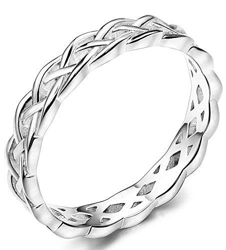 Celtic Knot Wedding Band Ring - FUNRUN JEWELRY 4mm Sterling Silver Celtic Knots Eternity Wedding Bands Rings for Women Size 9