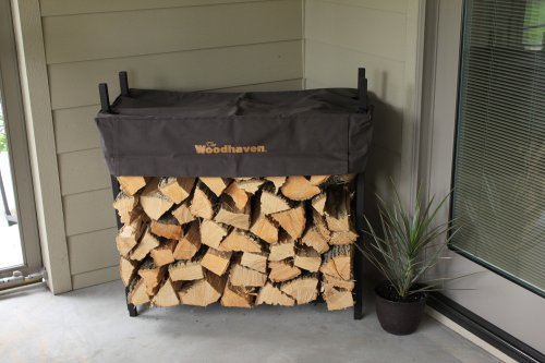 The Woodhaven 3 Foot Brown Firewood Log Rack with (Firewood Rack 3 Foot)