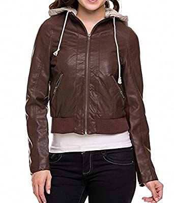 Sassy Apparel Women's PU Faux Leather Zip-up Closure Hoodie Moto Bomber Jacket