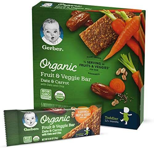 Baby & Toddler Snacks: Gerber Organic Fruit & Veggie Bars
