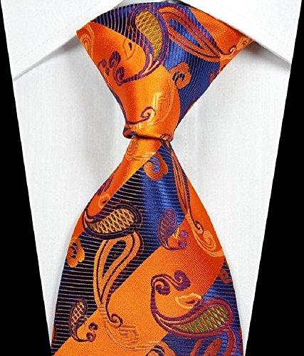 Banana Republican Classic Paisley Stripe Orange Blue Purple JACQUARD WOVEN 100% Silk Men's Tie Necktie