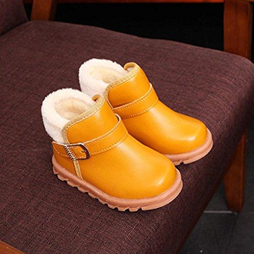 HUHU833 Kinder Mode Jungen Mädchen Stiefel Martin Sneaker Stiefel, Kinder Baby Warm Halten Freizeitschuhe Herbst Winter Gelb