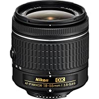 Nikon AF-P DX NIKKOR 18-55mm f/3.5-5.6G Lens, Remote, and Accessories Bundle - Includes Lens, Shutter Release Remote, Flash, Filter Kit, Hood, Battery Chargers with Batteries, Lens Pouch, and More