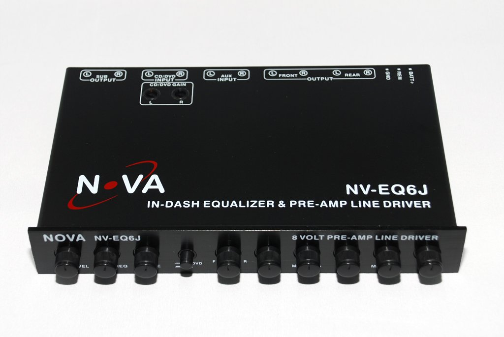 NOVA NV-EQ6J - In Dash 1/2 Din Equalizer and Pre-Amp with Subwoofer Gain Control and Built-in Crossover, with Fader and Five-Band by NOVA (Image #4)