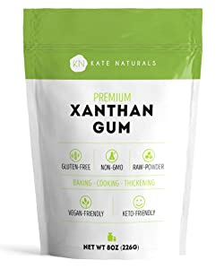 Kate Naturals Xanthan Gum. 100% Natural. Perfect For Gluten-Free Baking, Cooking & Thickening Sauces, Gravies & Shakes. Non-GMO. Large Resealable Bag. 1-Year Guarantee. (8 oz (Starter Size))