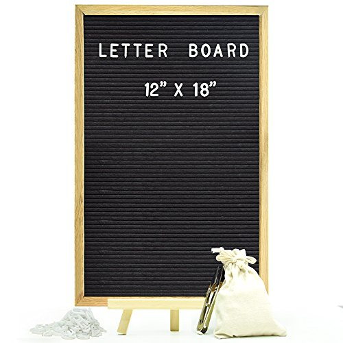 Felt Letter Board Sign Board Black Message Board with 730 Letters, Numbers, Emojis (12x18) by viatech