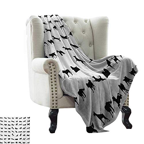 Throw Blankets Fleece Blanket Black and White,Different Silhouettes Dogs Various Breeds Corgi Golden Retriever Pitbull,Black White Microfiber All Season Blanket for Bed or Couch Multicolor 60