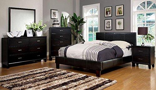 Besson Leather PU Platform 5 Piece Queen Bed, 2 Nightstand, Dresser, Mirror - Espresso - Espresso 5 Piece Platform
