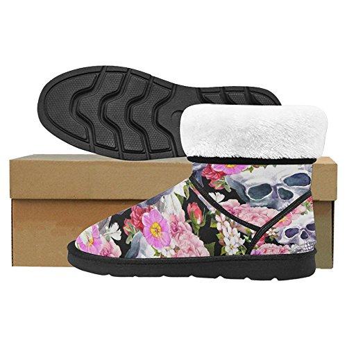 Snow Stivali Da Donna Interesse Design Unico Comfort Invernale Stivali Teschi Con Fiori Multi 1