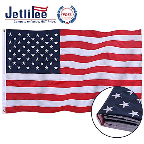 Jetlifee American Flag 3x5 Ft Embroidered Stars, Sewn Stripes, Brass Grommets US Flag.Outdoors Indoors USA Flags Polyester 3 x 5 Foot.