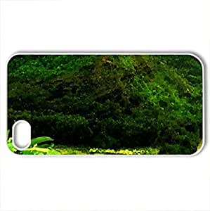 River and mountain forest - Case Cover for iPhone 4 and 4s (Mountains Series, Watercolor style, White)