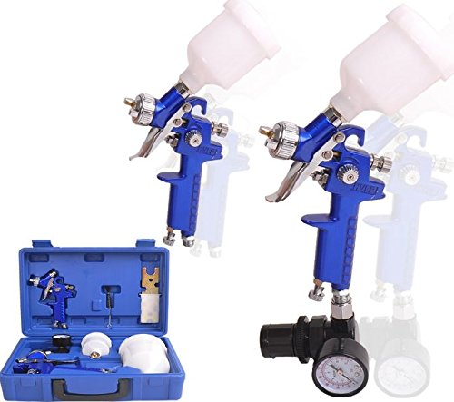 K&A Company NozzleBase Primer HVLP 2 Spray Guns Kit Gauge Auto Gravity Feed Air Sprayer Standard Tool 0.8 & 1.4 ()