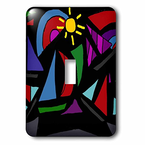 3dRose lsp_196228_1 Fun Sailboats Abstract Art Single Toggle Switch