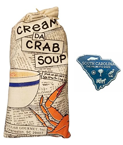 Gullah Gourmet Cream Crab Soup - 6 oz Maryland Style Cream of Crab Soup Use this Mix and Add Lump Crab Meat - Enjoy this Charleston South Carolina Mixture that makes a Meal for 4 w/SC Magnet