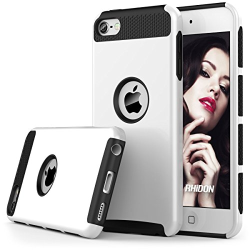 iPod Touch 6 Case , iPod Touch 5 Case , Rhidon Slim Shockproof Armor Hard Rugged Ultra Protective Back Rubber Dual Layer Impact Protection Cover for Apple iPod touch 5 6th Generation (White-Black)