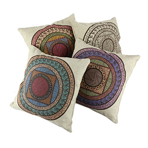 """Createforlife Home Decorative Cotton Linen Square 4Pcs Set of 4 Indian Floral Style Throw Pillow Shams Cushion Cover 18"""""""