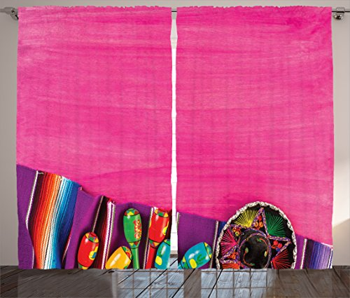 Bedroom Furniture Mexican (Ambesonne Mexican Decorations Curtains, View of Folkloric Serape Blanket Charro Hat and Music Instruments, Living Room Bedroom Window Drapes 2 Panel Set, 108 W X 84 L Inches, Fuchsia Purple)